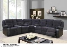 Global Furniture Sectional Jasmine Mouse(Dtc87-11)/Qpu011