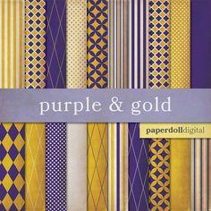 Purple Digital Paper  Gold Digital Paper  by paperdolldigital