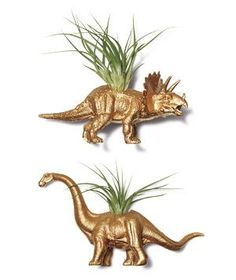 """Gold Dinosaur Tillandsia Planters: Dino-mite additions to a modern-day mantel—four-inch figurines dipped in """"gold"""" and planted with low-care air plants."""