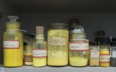 Some yellow pigments from the Forbes Pigment  Collection, in the Harvard Universality's Harvard Art Museums Fogg Museum  Peter Vanderwarker. photo