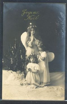 PU196-NOEL-Xmas-CUPIDS-ANGELS-GIRL-Decorated-TREE-SNOW-PHOTO-pc Christmas Past, Xmas, Girl Decor, Photo Postcards, Cupid, Worlds Largest, Photos, Statue, Children