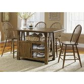 Found it at Wayfair - Farmhouse Casual 5 Piece Dining Centre Island Pub Table Set in Weathered Oak