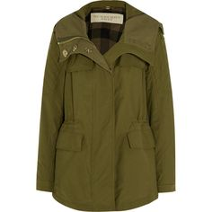 Burberry Brit Hooded cotton-blend parka ($860) ❤ liked on Polyvore featuring outerwear, coats, coats & jackets, jackets, green, green parka, military parka, burberry parka, military coat and hooded quilted coat