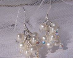 fatdog Wedding Collection Earrings - BSE716 Pearl and Crystal Clusters