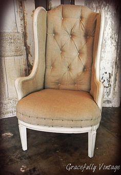 Vintage Tufted Linen Wingback