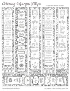 3 Printable Zentangle Coloring Bible Journaling Margin Strips for Wide Bible Margins or Planner Sticker Decoration, or Bookmarks Hide Gods Word