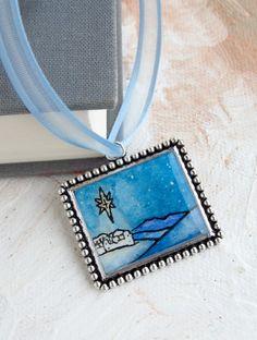 Christmas Ornament -- Bethlehem Star --Watercolor Collectable Decor, Holiday, Blue. $12.00, via Etsy.