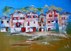 Tableau Le Pays Basque et ses maisons typiques traditionnelles @peintures-axelle-bosler : Peintures par peintures-axelle-bosler