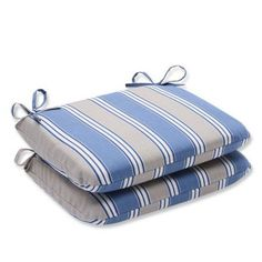 Pillow Perfect Outdoor/ Indoor Hamilton Blue Rounded Corners Seat Cushion (Set of 2)