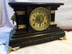 Gorgeous Antique Ingraham Mantle Clock. Ornate dial and bezel and unique finish sold on eBay