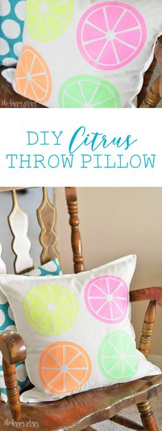 This DIY Citrus Throw Pillow is the perfect addition to summer decor in your… - Summer Diy, Summer Crafts, Diy Crafts For Kids, Kids Diy, Creative Crafts, Easy Crafts, Creative Ideas, Vinyl Projects, Craft Projects