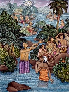 The Baptism of our Lord, by Ketut Lasia Jesus Loves You, Christian Art, Jesus Christ, Christianity, Catholic, Lord, Balinese, Spirit, Punk