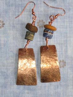 Copper earrings with VERY old African beads