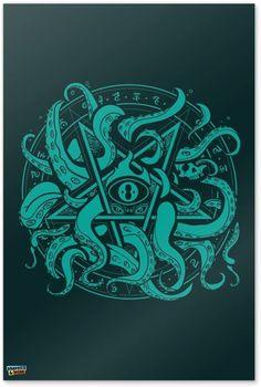 Cthulhu Tattoo, Cthulhu Art, Hp Lovecraft, Pentagram Tattoo, Lovecraftian Horror, Dark Art Illustrations, Magic Symbols, Tattoo Project, Zombieland