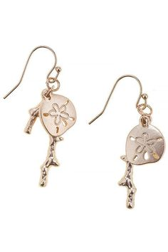 {Sand Dollar Coral Branch Trendy Earrings}