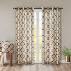 Shop Madison Park Westmont Fretwork Print Pattern Single Curtain Panel - On Sale - Overstock - 21180963 - X - Yellow Valances For Living Room, Living Room Bedroom, Patio Door Curtains, Patio Doors, Grommet Curtains, Drapes Curtains, Curtain Styles, Thing 1, Curtain Lights