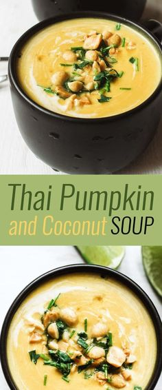 Comforting Thai Pumpkin and Coconut Soup has a bit of kick from curry paste and plenty of creaminess from yummy coconut milk. Delicious indeed, and a Thai pumpkin soup you'll definitely want to try! food recipes dinner soup Thai Pumpkin and Coconut Soup Asian Recipes, Healthy Recipes, Ethnic Recipes, Scd Recipes, Recipies, Healthy Breakfasts, Thai Pumpkin Soup, Pumpkin Coconut Soup, Thai Coconut Soup