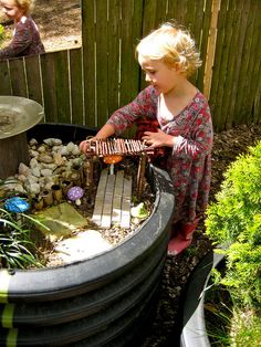 Fairy garden in the terrain tubes by Takoma Park Cooperative Nursery School, via… Outdoor Learning Spaces, Outdoor Play Areas, Outdoor Fun, Natural Play Spaces, Preschool Garden, Outdoor Playground, Natural Playground, Small World Play, Backyard Play