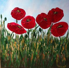 Field PoppiesOriginal AcrylicSigned by PotpourriPenny on Etsy