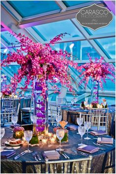 A starburst design of brilliant fuchsia floral. #KehoeDesigns   Photo by: Carasco Photography | Planning by: Designer Event Chicago