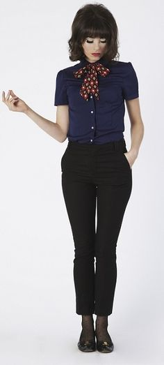 Patsy Blouse - Navy.  I like the tight/socks with flats. Makes them look more professional.  And just this whole look in general.