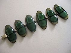 Vintage Modernist Kay Denning Signed Enamel Copper Bracelet Gorgeous Greens