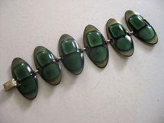 Vintage Modernist Kay Denning Signed Enamel Copper Bracelet Gorgeous Greens