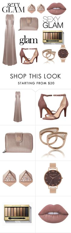 """""""Glam time"""" by avahone ❤ liked on Polyvore featuring beauty, Jessica Choay, Naeem Khan, Vince Camuto, Kipling, FOSSIL, Olivia Burton, Max Factor and Lime Crime"""
