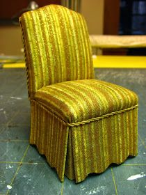 Dollhouse Miniature Furniture - Tutorials | 1 inch minis: 1 INCH SCALE UPHOLSTERED PARSONS CHAIR - How to make an upholstered Parsons chair in 1 inch scale.