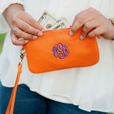 Monogram Wristlet in Orange Leather Like with by HoopandStitch