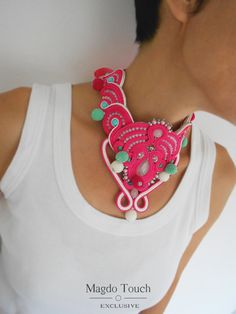 Soutache necklace / pink hand embroidered necklace / festive pompom necklace / oversized choker / fun gift for her / bold color necklace by MagdoTouch on Etsy Soutache Necklace, Pompom Necklace, Crochet Earrings, Fashion Necklace, Best Gifts, Gifts For Her, Chokers, Jewelry Making, Festive