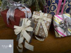 """Pour vos paquets cadeau, utilisez du ruban textile! En superposition, avec un joli noeud, vos surprises feront un effet """"waouh""""!"""