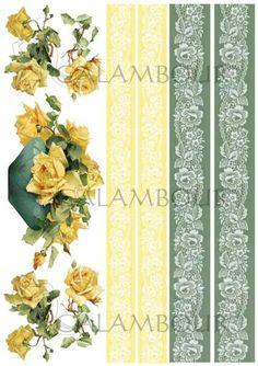 DGR 284 - papier ryżowy - żółte róże i bordiury