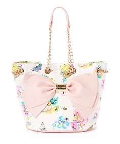 Look what I found on #zulily! White & Pink Floral Bow Tote #zulilyfinds