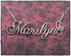 IN STOCK -Marilyn- Sterling Silver Calligraphy Script Name Necklace, Personalized With Handmade Clasp. $59.97, via Etsy.