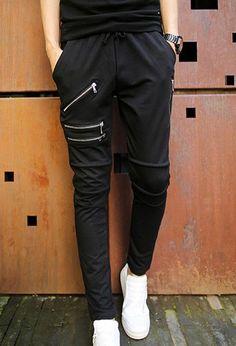 $18.75 Slimming Trendy Lace-Up Design Solid Color Pocket Fashion Zipper Embellished Narrow Feet Cotton Blend Pants For Men