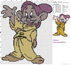 Dopey (Snow White) cross stitch pattern (click to view)