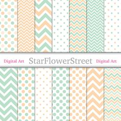 chevron digital paper polka dot banner paper pattern wedding paper mint green peach coral wedding shower paper scrapbook baby shower paper StarFlowerStreetDA on Etsy: (3.75 USD)