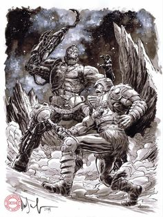 Trap Jaw vs Man-At-Arms by Dave Wachter