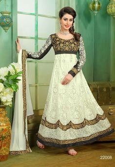 Tantalizing Cream Color Net Fabric Designer Anarkali Style Or Lehegna Style Suit #anarkalisuits