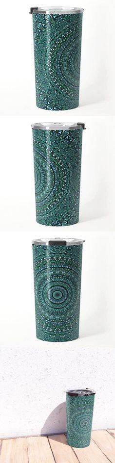 Turquoise Glass Kaleidoscope Mandala Travel Mug by David Zydd #BestTravelMugs #MandalaTravelMug #Mandala #Turquoise #MandalaKitchen (tags: mandala artwork, mandala decoration, hippie, mandala, geometry, equipment, outdoor, art, kaleidoscope, gift, design, decor, sacred, bohemian, arts, artwork, meditation, mandala home decor)