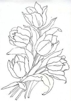 Tulips coloring page: