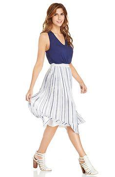 JOA Striped Pleated Midi Skirt in White XS - L | DAILYLOOK