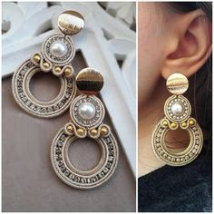 They are certainly unique and attention-catching. Pick from a range of various colored or monochromatic styles, mix and match according to your clothes, and existing precious jewelry. Soutache Earrings, Tassel Earrings, Beaded Earrings, Statement Earrings, Earrings Handmade, Handmade Jewelry, Stud Earrings, Boho Jewelry, Beaded Jewelry