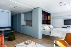 Pied à Mer | MKCA // Michael K Chen Architecture | Archinect Two Bedroom Apartments, Luxury Apartments, Luxury Yacht Interior, Suite Principal, Interior Architecture, Interior Design, Bedding Master Bedroom, Apartment Complexes, Nautical Design