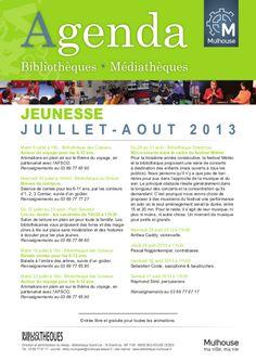 Agenda des bibliothèques-médiathèques de Mulhouse – Juillet Aout 2013
