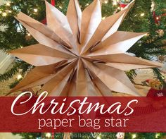 Diy christmas paper bag star {a quick ten-minute craft} Diy Christmas Star, Christmas Crafts For Adults, Christmas Origami, Christmas Bags, Christmas Paper, Holiday, Christmas Ideas, Diy And Crafts, Crafts For Kids