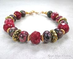 Chunky Gemstone Bracelet Cranberry Red by RoughMagicCreations