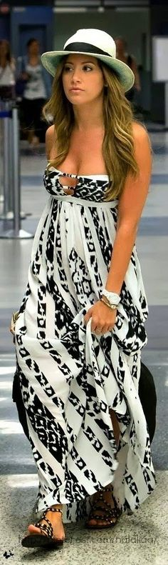 OFF Shoulder Black And White Maxi Dress