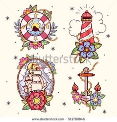 Set of old school tattoos with lifebuoy, lighthouse, ship and anchor. Tradition tattoo ink design. #tattooart #tattoo #oldschool